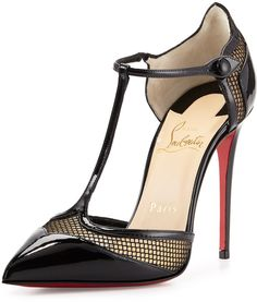 Christian Louboutin Beloved Laser-Cut Patent Red Sole Pump, Black ...