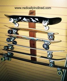Radical new way to store your skate decks. Skateboards to longboards. Check them out at www.radicallyinclined.com