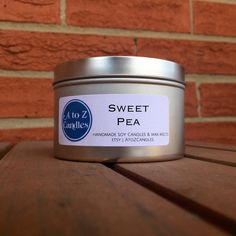 SWEET PEA | Natural Soy Candle | 2 oz, 4 oz, 8 oz, 16 oz Tin or Tea Lights | Hand Poured | Vegan | Eco-Friendly | Handmade | Spring | Floral by AtoZCandles on Etsy https://www.etsy.com/listing/253481171/sweet-pea-natural-soy-candle-2-oz-4-oz-8
