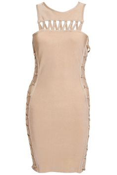 Get lacey and racy with this sickingly sweet caramel number! Guaranteed to caress and sculpt your curves, our Lourdes bandage dress teams together soft caramel tones and lace up detailing for the ultimate feminine yet fierce look! Style our Lourdes dress with nude accessories and a volumised up-do. Finish the look with a slick of brown tonal lippy - hello you badass babe!