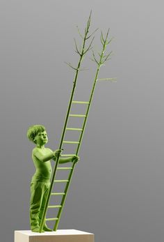green - child - wood - figurative sculpture - Human Nature - Willy Verginer