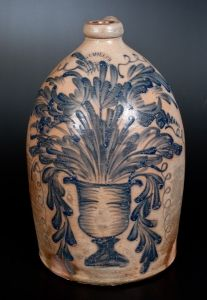 Exceptional M. & T. MILLER / NEWPORT, PA Stoneware Jug with Elaborate Flowering Urn Decoration