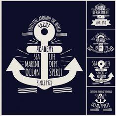 Vetor marinha ancora emblemas definidos