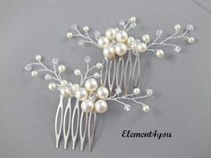 Bridal peigne peigne à cheveux mariage lot de 2 par Element4you