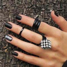 Knuckle Rings-Finger Ring-Midi Ring-Mid Ring-Black Wrap Ring-Stackable Knuckle Ring-Black Stack Ring-Simple Tiny Toe Ring-Elegant Black Ring