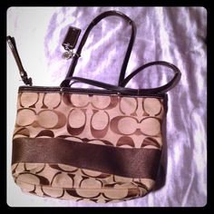 Coach Signature Stripe Tote In Khaki & Brown