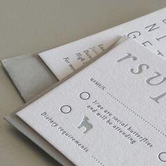 Letterpress Invitation and RSVP. 2 Colour Print on Colorplan Duplex Stock. Design by client. Print by The Hunter Press. #letterpress