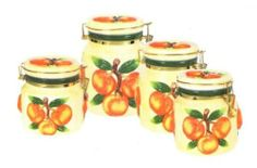 Peach Kitchen, New Kitchen, Canister Sets, Canisters, Kitchen Themes, Peaches, Kitchen Storage, Kitchenware, Orange Color