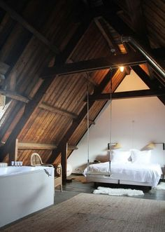 Attic Loft Bedrooms, Rustic Edition warm and lovely attic bedroom. and who doesn't need a swing by the bed!warm and lovely attic bedroom. and who doesn't need a swing by the bed! Barn Bedrooms, Bedroom Loft, Home Bedroom, Bedroom Decor, Teen Bedroom, Dream Bedroom, Design Bedroom, Loft Room, Attic Design