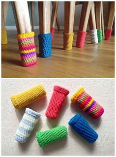 How to make woolly chair socks and stop scratching the floors? - Love Crochet - - How to make woolly chair socks and stop scratching the floors? – Love Crochet – How to make woolly chair socks and stop scratching the floors? Crochet Home, Love Crochet, Crochet Crafts, Yarn Crafts, Single Crochet, Knit Crochet, Diy And Crafts, Crochet Socks, Crochet Baby