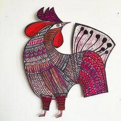 """1,493 Likes, 11 Comments - Clare Youngs (@clareyoungs) on Instagram: """"A partner for the hen. #100dayproject #100daysofcardboardcollage #paperart #papercraft #paperartist…"""""""