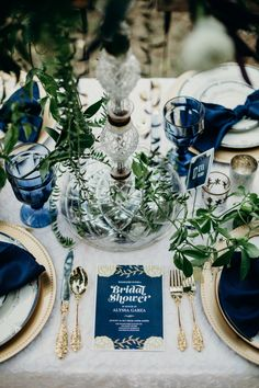 Classic Blue: Weddings with Pantone 2020 Color Blue Gold Wedding, Blue White Weddings, Lace Wedding, White Bridal Shower, Blue Bridal Showers, Pantone 2020, Wedding Table Settings, Place Settings, Wedding Colors