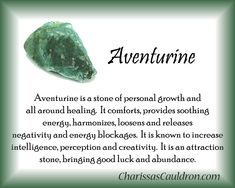 For everything Green Day check out Iomoio Crystal Guide, Crystal Magic, Crystal Healing Stones, Green Adventurine, Crystals For Manifestation, Meditation Crystals, Crystals And Gemstones, Stones And Crystals, Spirituality