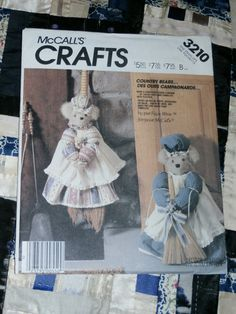 Cute 1987 McCalls Craft Pattern 3210, Bear Door Stopper and Broom Cover,