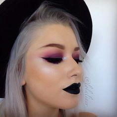 Black lips and a dark purple eye look. Shop our range of lipsticks here > https://www.priceline.com.au/cosmetics/lips