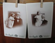 "Set of 2 Vintage Cabinet Cards ""Grandpa and Bessie"" Home Decor Scrapbooking Supplies Old Photos"
