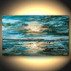 Modern Palette Knife Impasto Blue Original Landscape Painting Modern Fine Art by Osnat 40x24