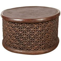 Round African Drum Table from Susanne Hollis
