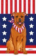 American Pitbull - by Tomoyo Pitcher, Patriotic Themed Dog Breed Flags 12 x 18 by Unknown. $15.99. Yorkshire Terrier Indoor/Outdoor flag is 28 x 40 inches and is made from 2 pieces of fabric sewn back to back to withstand even the most severe weather. This allows the text and image to be seen the same from both sides. Pole and bracket not included.