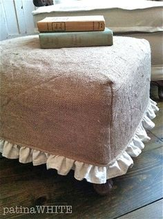 Oh, oh, oh, I need to do this for my little cube ottoman ~burlap slip cover with ruffle - Easy Diy Furniture Burlap Ottoman, Ottoman Slipcover, Ottoman Cover, Slipcovers, Burlap Projects, Burlap Crafts, Sewing Projects, Furniture Makeover, Diy Furniture