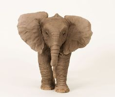 Ceramic Wild Animals and Wild Life sculpture by sculptor Lesley Prickett titled: 'Young African Elephant (Small Elephant Calf statuette)' - Artwork View 5