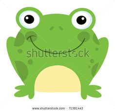 picture of a bright green frog sitting down in a vector clip art illustration