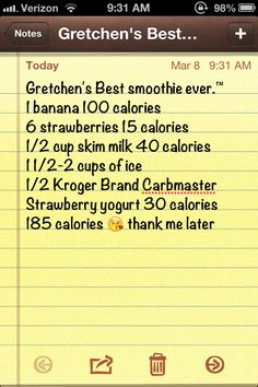 Best smoothie! Great for breakfast. I came up with the recipe and made this smoothie this morning, delicious! Low calories! About 185 calories give or take a few more or less.