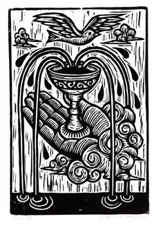 Ace of Cups Tarot Card Hand Pulled Woodcut Print by HorseAndHare, $20.00