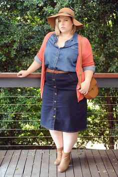 f8a9cd7dce9 danimezza aussie curves avella bigw double denim button skirt rust cardigan  knitwear felt hat tan boots