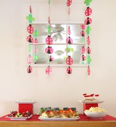 Ladybug 4th Birthday Party! Love the hanging garlands! - Kara's Party Ideas - The Place for All Things Party