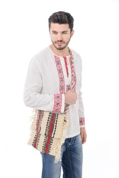 #traditionalshirt #romanianblouse Plaid Scarf, Kimono Top, Costume, Men Shirt, Romania, Sweaters, Shirts, Collection, Tops