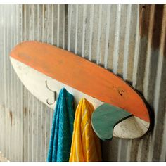 Surfboard Towel Hook Wooden Beach House by SlippinSouthern on Etsy