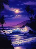 Lassen Art Everybody´s Tropical Fantasy Beautiful Nature Pictures, Beautiful Moon, Pretty Pictures, Beautiful Landscapes, Tropical Art, Jolie Photo, Seascape Paintings, Ocean Art, Pictures To Paint