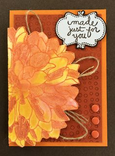 Regarding Dahlias stamp set by Stampin' Up! is so much fun to color!  This ATC, Artist Trading Card used several different oranges and yellows with an aquapainter and a water spritzer to get the fall colors.  Creatively Yours stamp set is used for the sentiment. Card by Beverly Stewart