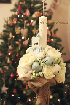 "Sara Creations: Lumanare botez "" It's Christmas time "" Christmas Time, Christmas Wreaths, Christmas Decorations, Table Decorations, Christmas Ornaments, Holiday Decor, Baptism Candle, Flower Fairies, Baby Party"