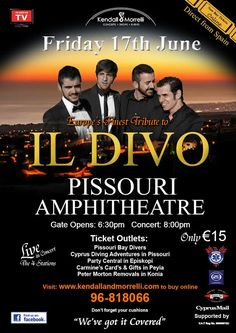 #IlDivo, #PissouriAmphitheatre, Friday 17 June... There's something so special about live music... especially at Pissouri's fabulous millennium amphitheatre. The Mediterranean backdrop, a beautiful sunset, the warm breeze of a Cyprus summer evening, and - last, but not least - the talents of the musical maestros. Altogether a magical experience! Tickets: Pissouri Bay Divers €15 Remember your cushions and cool box. Post: Nikki at pissouribay.com.