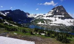 The Hidden Lake Overlook can be difficult to reach because of stubborn snow on the trail.