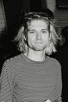 Kurt Cobain in his striped shirt