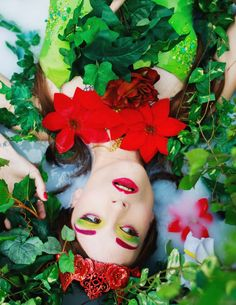 Poison Ivy Makeup inspired High Fashion Milkbath Modeling Photoshoot with Brittany LeeAnn Photography and crown by Pendulous Threads UK Red green