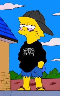 School Kills Artists Lisa Simpson Hoodie - Sad Simpsons - Source by grungepinbaby outfits Cartoon Wallpaper, Simpson Wallpaper Iphone, Mood Wallpaper, Wallpaper Iphone Cute, Cute Wallpapers, Artistic Wallpaper, Retro Wallpaper, Black Wallpaper, Phone Wallpapers