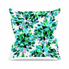 KESS InHouse JD1157AOP03 18 x 18-Inch 'Ebi Emporium Dahlia Dots 7 Teal Green' Outdoor Throw Cushion - Multi-Colour >>> Click image for more details. #GardenFurnitureandAccessories
