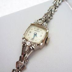 Benrus and 10 pt Diamond Ladies Watch Old Watches, Antique Watches, Watches For Men, Elegant Watches, Stylish Watches, Luxury Watches, Vintage Watches Women, Vintage Ladies, Art Deco Watch