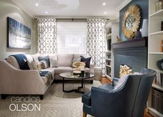 BLUE ECHO ROOM: Benjamin Moore's BLUE ECHO AF-505 is the fireplace finish in this room.  This water-inspired blue green color is the launching off point for art and accessories throughout the room. #candiceolson