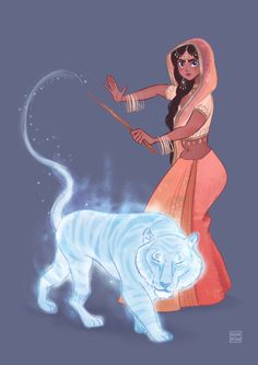 SKETCHES BY RANRAN- Parvati Patil with her bengal tiger patronus. This is amazing