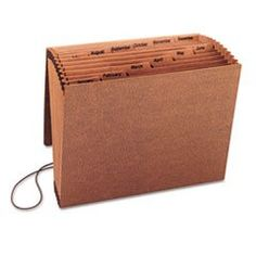 ** Jan-Dec Accordion Expanding File, 12 Pocket, Letter, Leather-Like Redrope **  #4COU #Home