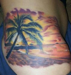 Beach tattoo by todo of mcdonough ga this but with for Beach sunset tattoos