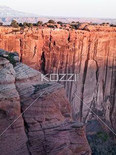 canyon de chelly scenic shot of sandstone cliff. - High angle shot of sandstone cliff.