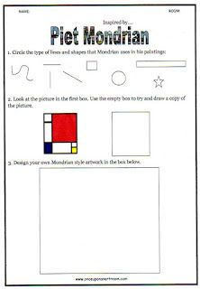 Piet Mondrian - Mondrian Inspired - Ready-Ed Publishers - Teaching Primary Art by Chani Crow Piet Mondrian, Mondrian Kunst, Art Sub Plans, Art Lesson Plans, Middle School Art, Art School, High School, Classe D'art, Art Handouts