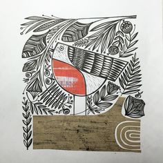 I took some time off this afternoon from the things I was supposed to be doing to join in with the 12 prompts for 12 days of Christmas. Water Nail Art, Scandinavian Folk Art, Bird Quilt, Bird Illustration, Linocut Prints, Gravure, Bird Art, Collage Art, Art Lessons