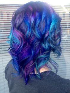 Purple, turquoise, midnight blue & black